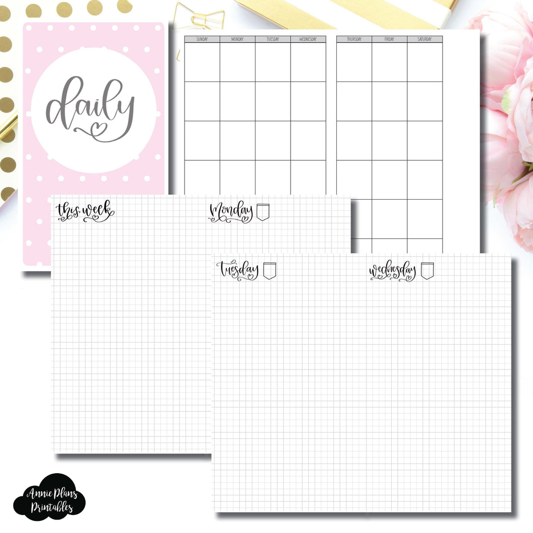 Cahier TN Size | SeeAmyDraw Undated Daily Grid Collaboration Printable Insert ©