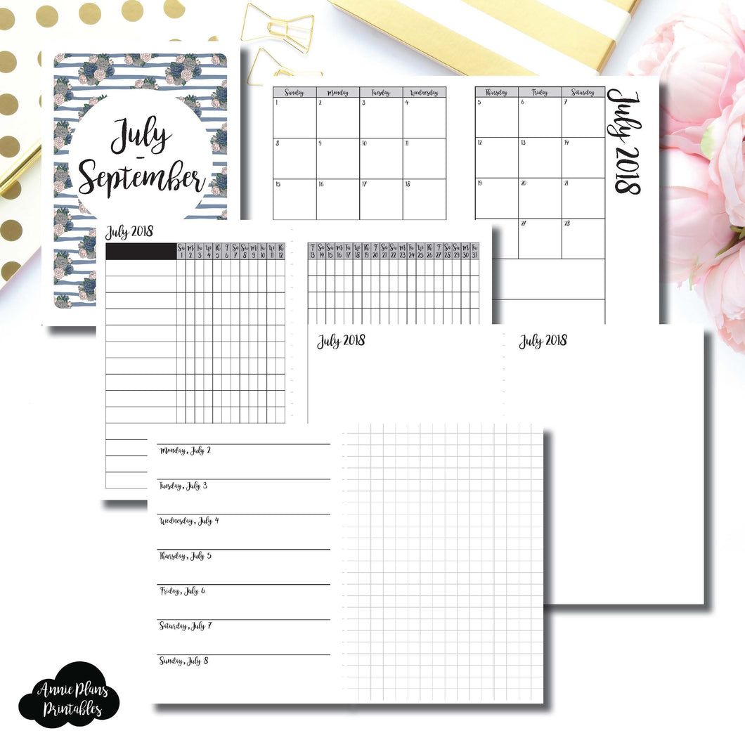 A6 TN Size | JULY - SEPTEMBER 2018 | Horizontal Week on 1 Page + GRID (Monday Start) Printable Insert ©
