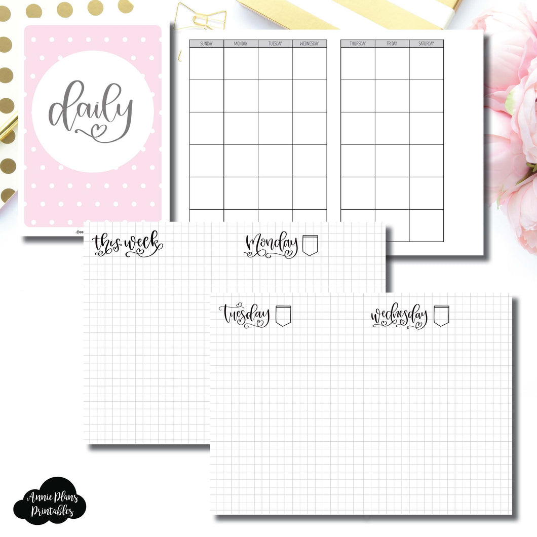 A6 TN Size | SeeAmyDraw Undated Daily Grid Collaboration Printable Insert ©