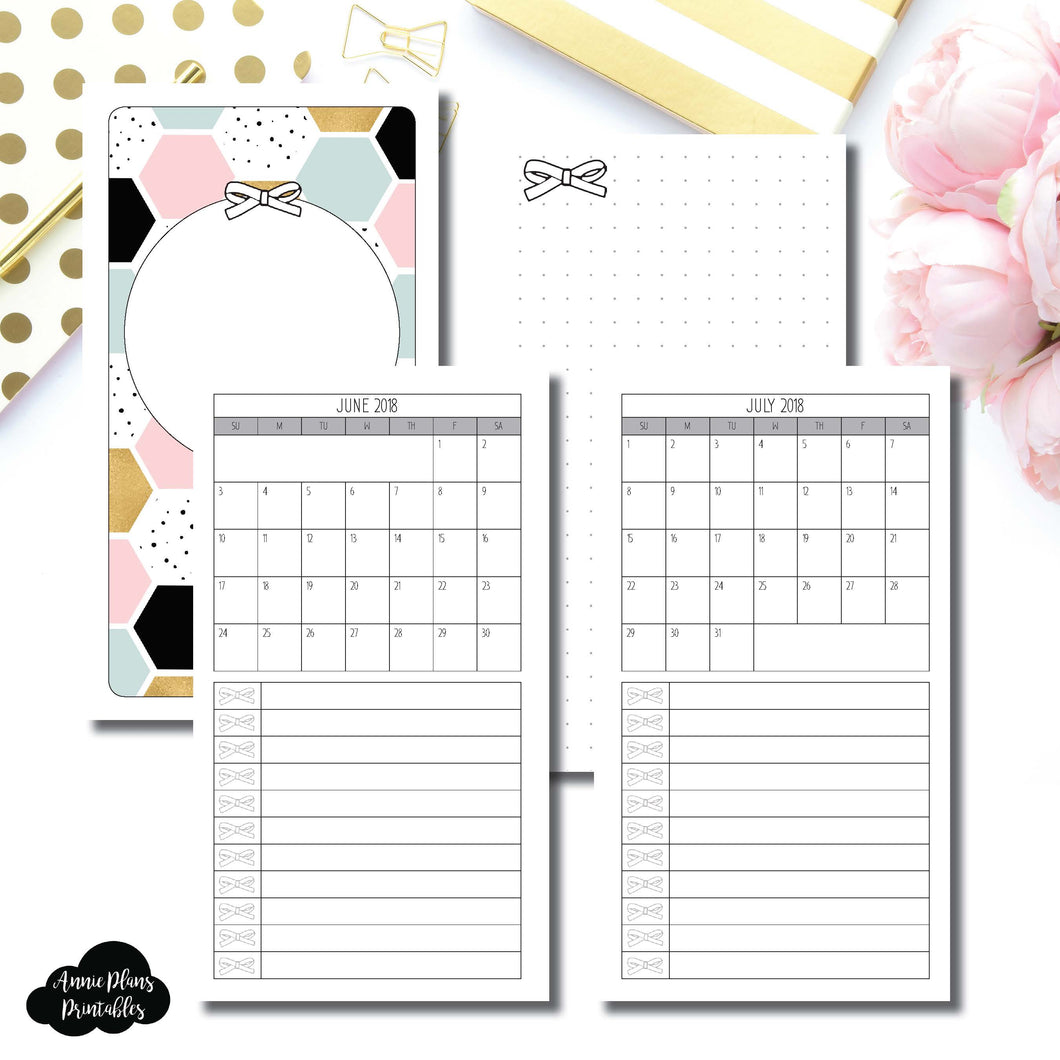 Personal TN Size | JUNE 2018 - JULY 2019 Single Page Monthly Printable Insert ©