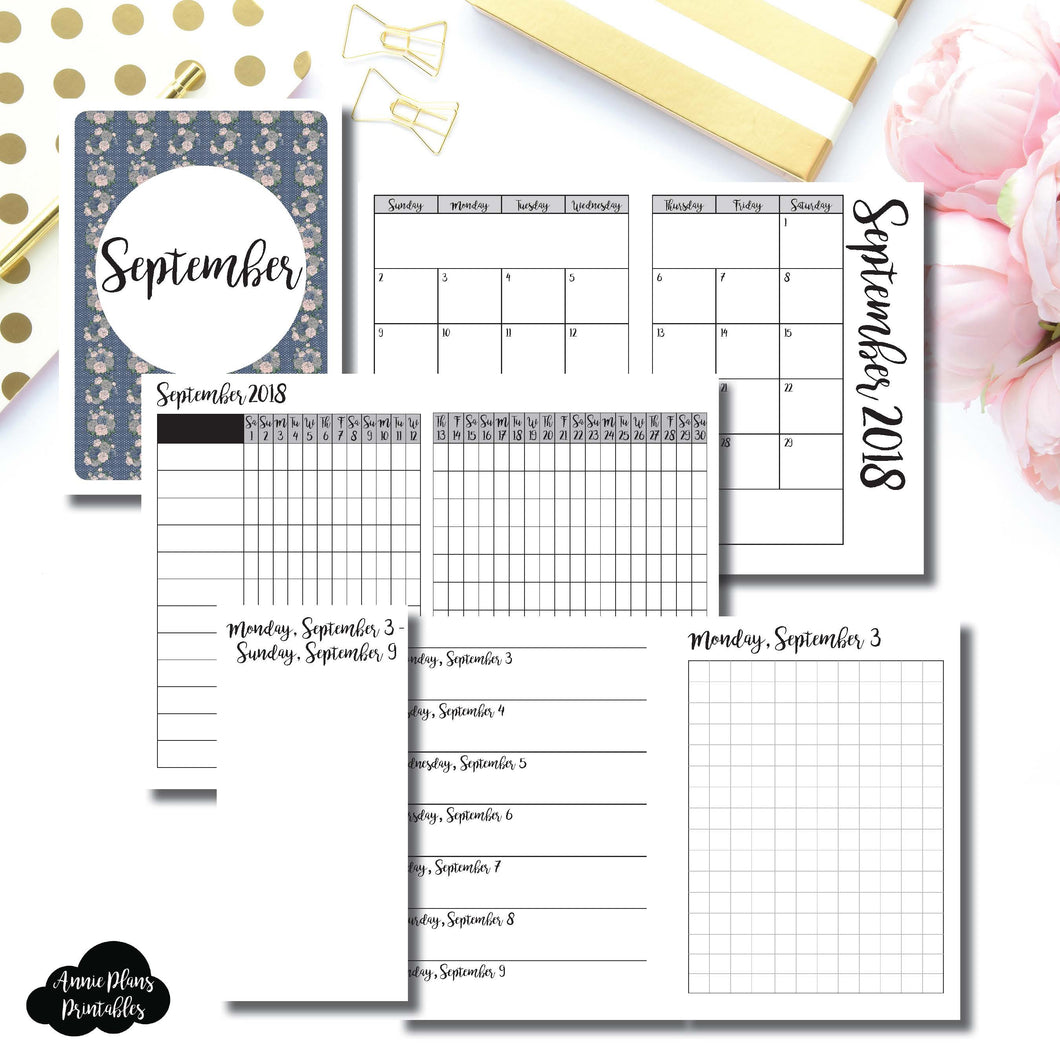 Passport TN Size | SEPTEMBER 2018 | Month/Weekly/Daily GRID (Monday Start) Printable Insert ©