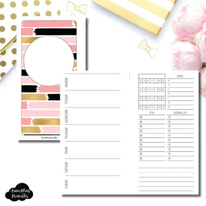 Personal Rings Size | Undated Week on 2 Page with Trackers Printable Insert ©