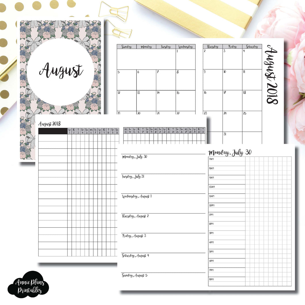 Cahier TN Size | AUGUST 2018 | Month/Weekly/Daily TIMED (Monday Start) Printable Insert ©