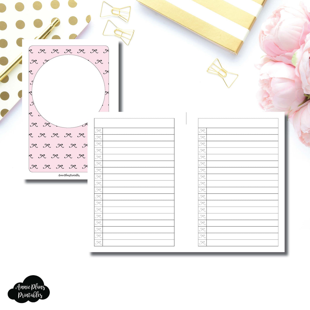 A6 Rings Size | Bow List Printable Insert ©