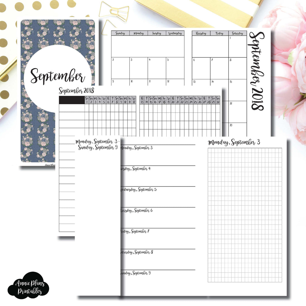 Personal TN Size | SEPTEMBER 2018 | Month/Weekly/Daily GRID (Monday Start) Printable Insert ©