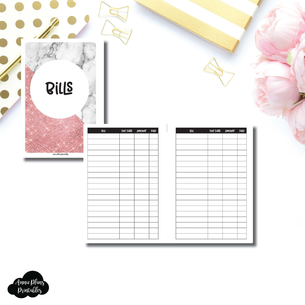 Personal Wide Rings Size | Basic Bill Tracker Printable Insert ©