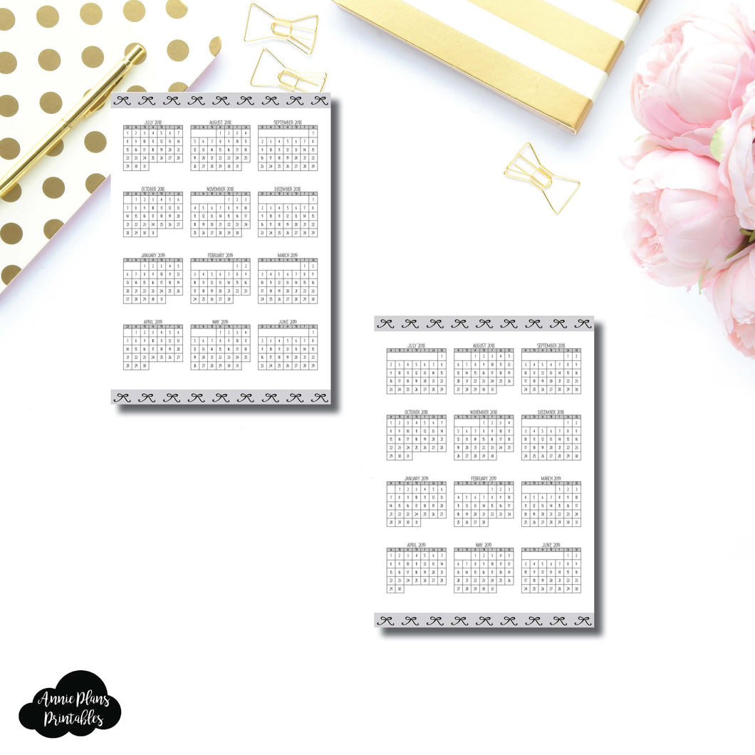 A6 TN Size | 2018 - 2019 Academic Year at a Glance Single Page Printable Insert