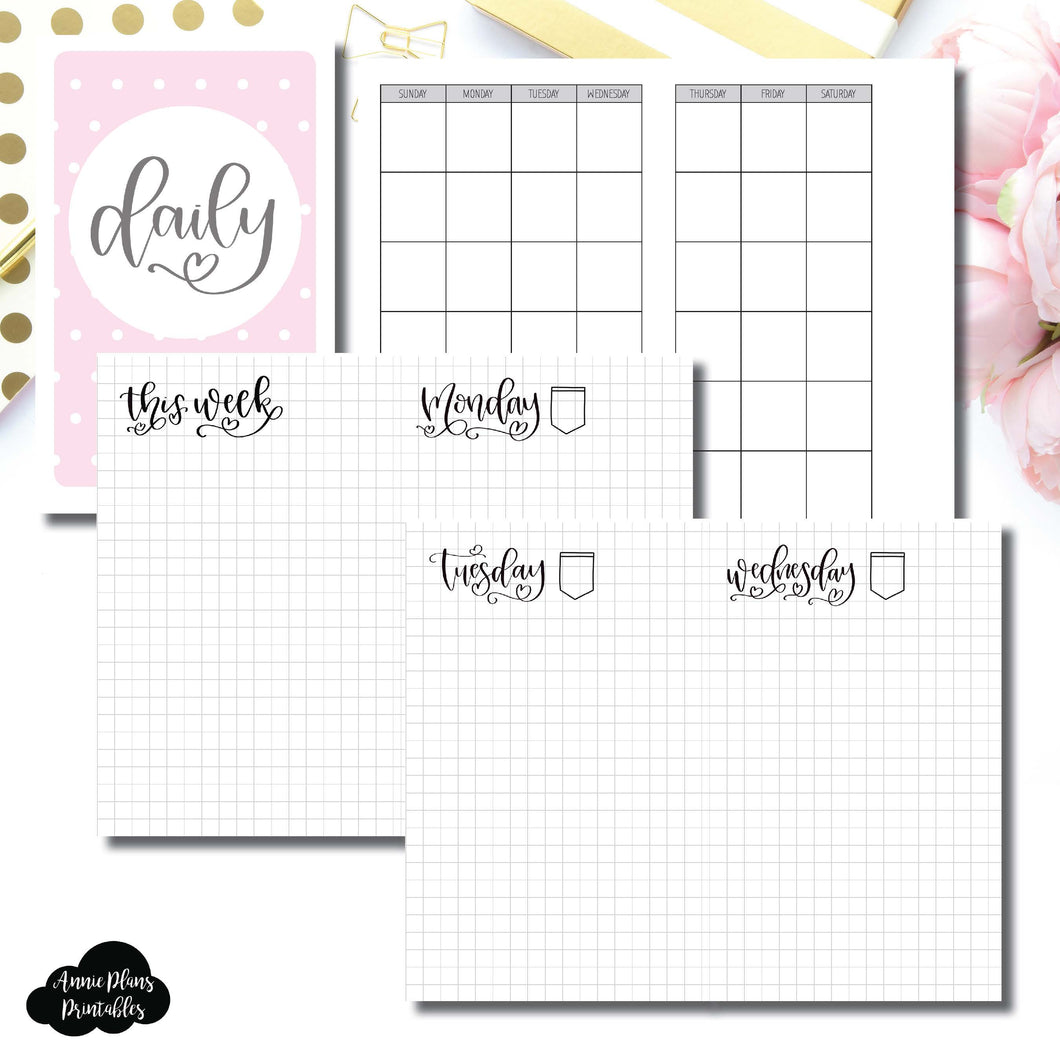 Pocket TN Size | SeeAmyDraw Undated Daily Grid Collaboration Printable Insert ©