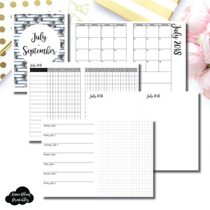 B6 TN Size | JULY - SEPTEMBER 2018 | Horizontal Week on 1 Page + GRID (Monday Start) Printable Insert ©