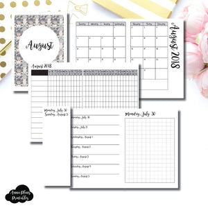 Passport TN Size | AUGUST 2018 | Month/Weekly/Daily GRID (Monday Start) Printable Insert ©