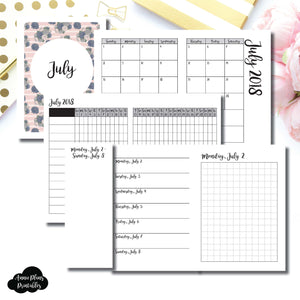 Passport TN Size | JULY 2018 | Month/Weekly/Daily GRID (Monday Start) Printable Insert ©