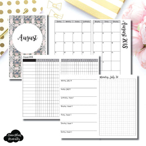 Cahier TN Size | AUGUST 2018 | Month/Weekly/Daily GRID (Monday Start) Printable Insert ©