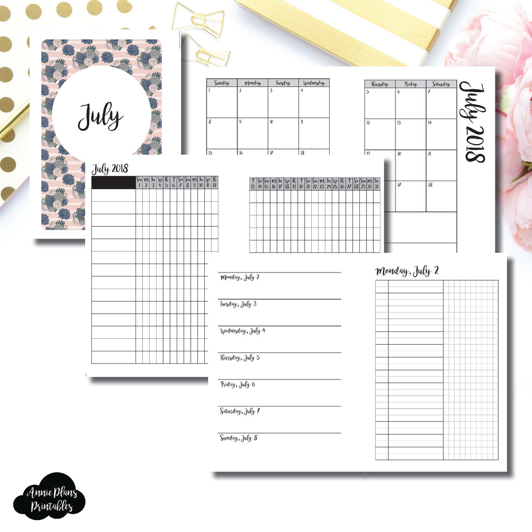 B6 TN Size | JULY 2018 | Month/Weekly/Daily UNTIMED (Monday Start) Printable Insert ©