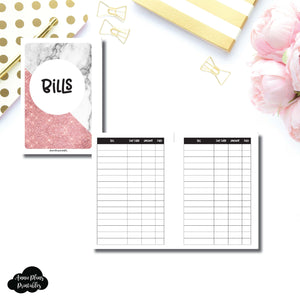 A6 Rings Size | Basic Bill Tracker Printable Insert ©