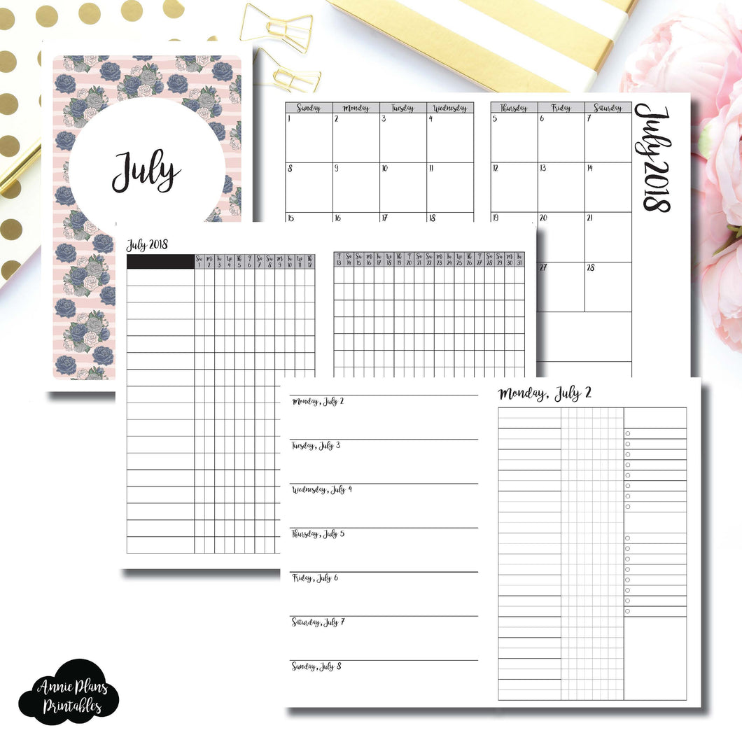 Half Letter Rings Size | JULY 2018 | Month/Weekly/Daily 3 COLUMN UNTIMED (Monday Start) Printable Insert ©