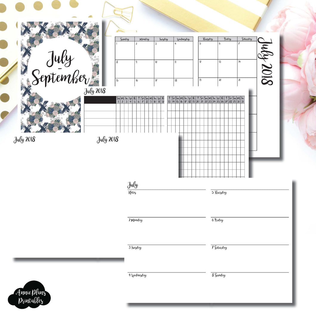Personal TN Size | JULY - SEPTEMBER 2018 | Horizontal Week on 2 Page (Monday Start) Printable Insert ©