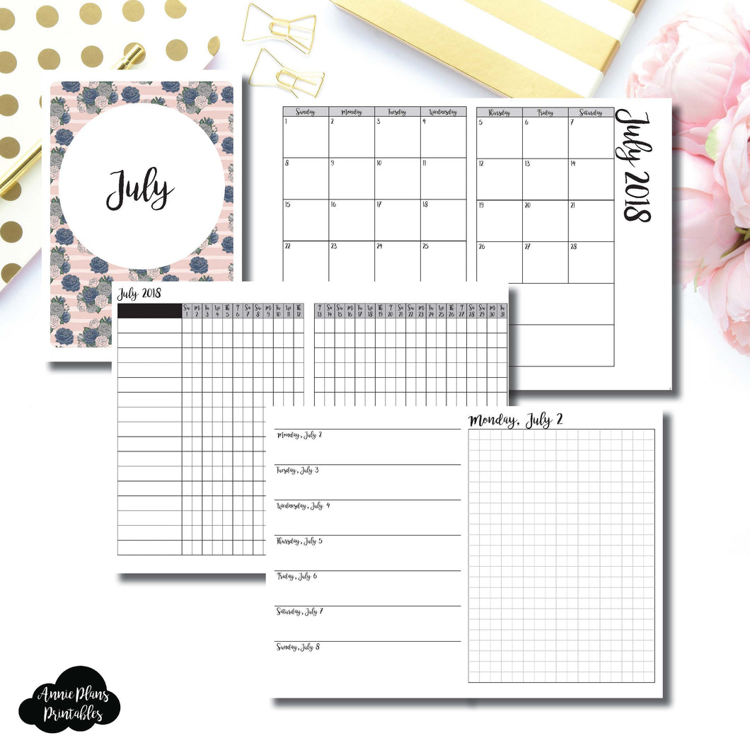 B6 TN Size | JULY 2018 | Month/Weekly/Daily GRID (Monday Start) Printable Insert ©