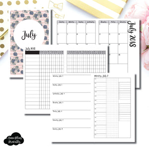 Half Letter Rings Size | JULY 2018 | Month/Weekly/Daily 3 COLUMN TIMED (Monday Start) Printable Insert ©