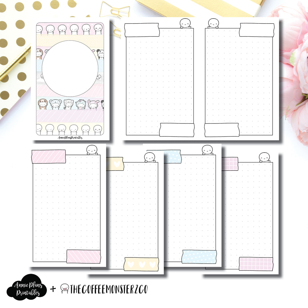 A6 Rings Size | TheCoffeeMonsterzCo Washi Dot Grid Printable Insert ©
