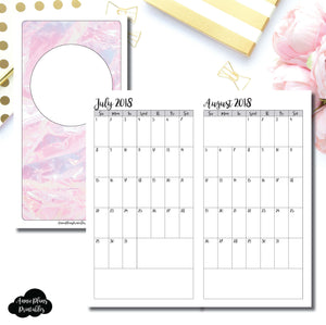 Standard TN Size | 18 Month (July 2018 - December 2019) SINGLE PAGE Monthly Printable Insert ©