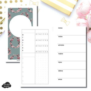 Personal Rings Size | Undated Horizontal Week on 2 Page Layout Printable Insert ©
