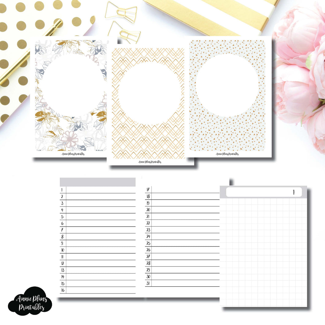Micro TN Size  | UNDATED DAILY GRID Printable Insert for Travelers Notebooks ©