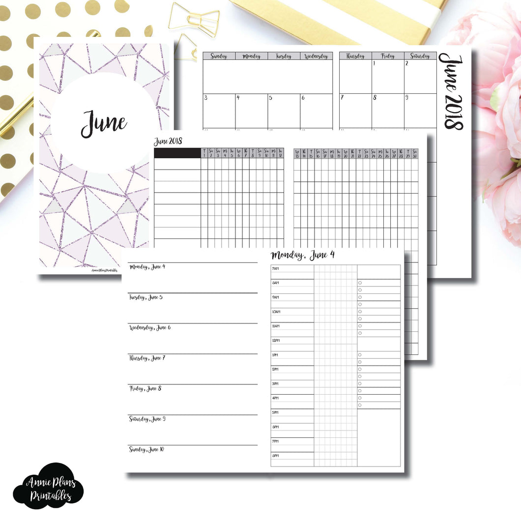 CAHIER TN Size | JUNE 2018 | Month/Weekly/Daily 3 COLUMN TIMED (Monday Start) Printable Insert ©