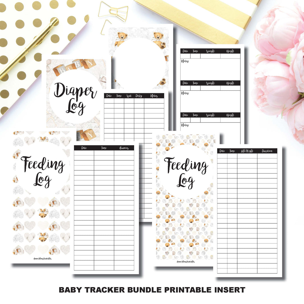 Personal TN Size | Baby Tracker Bundle | Printable Travelers Notebook Insert ©