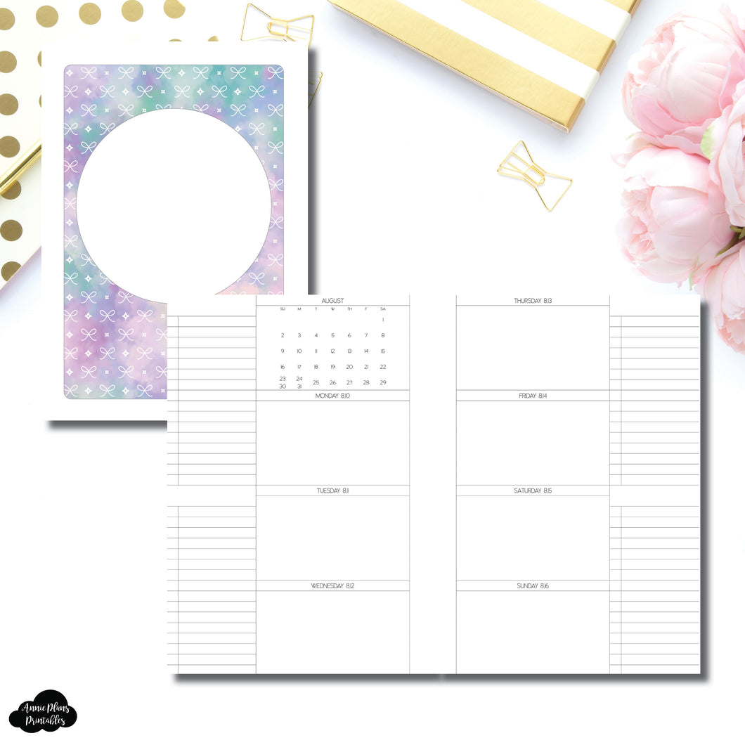 A5 Rings Size | AUG - DEC 2020 Week On 2 Pages + Lists Printable Insert