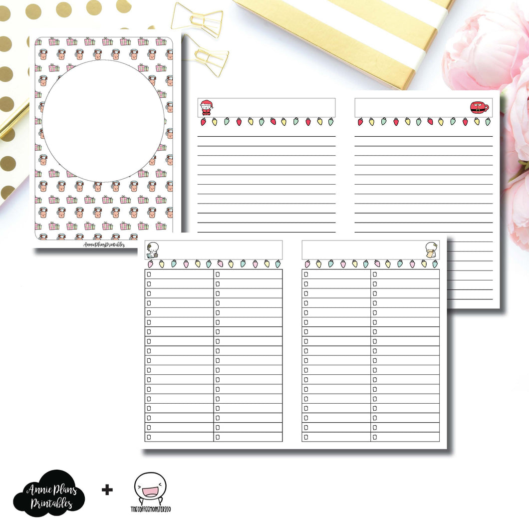 A6 TN Size | TheCoffeeMonsterzCo Collaboration Holiday Notes & Lists Printable Insert ©