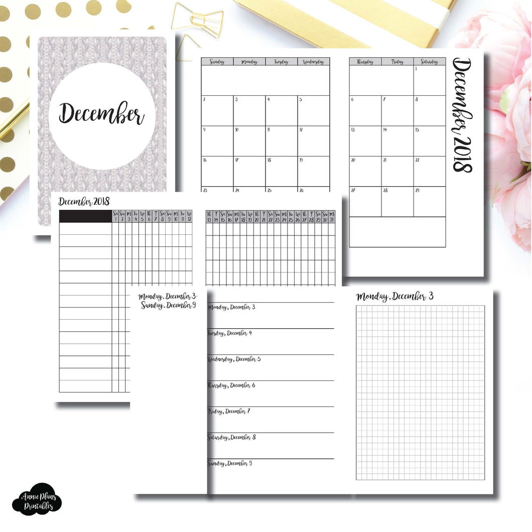 A6 TN Size | DEC 2018 | Month/Weekly/Daily GRID (Monday Start) Printable Insert ©