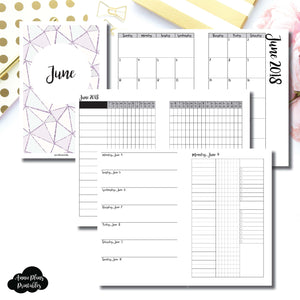 HALF LETTER RINGS Size | JUNE 2018 | Month/Weekly/Daily 3 COLUMN UNTIMED (Monday Start) Printable Insert ©