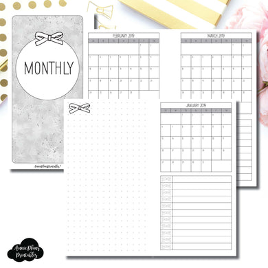 Personal Rings Size | 2019 Single Page Monthly Printable Insert ©