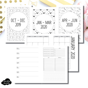 A5 Rings Size | OCT 2019 - JUNE 2020 | Week on 1 Page (Monday Week Start) With Trackers + Lists Printable Insert ©