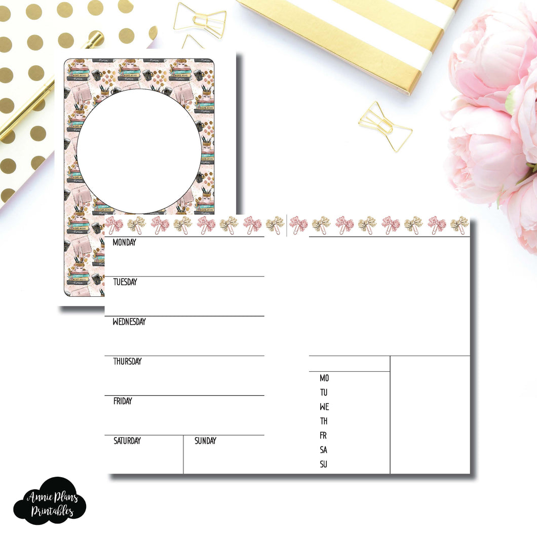 A6 Rings Size | Undated Week on 2 Page Collaboration Printable Insert ©