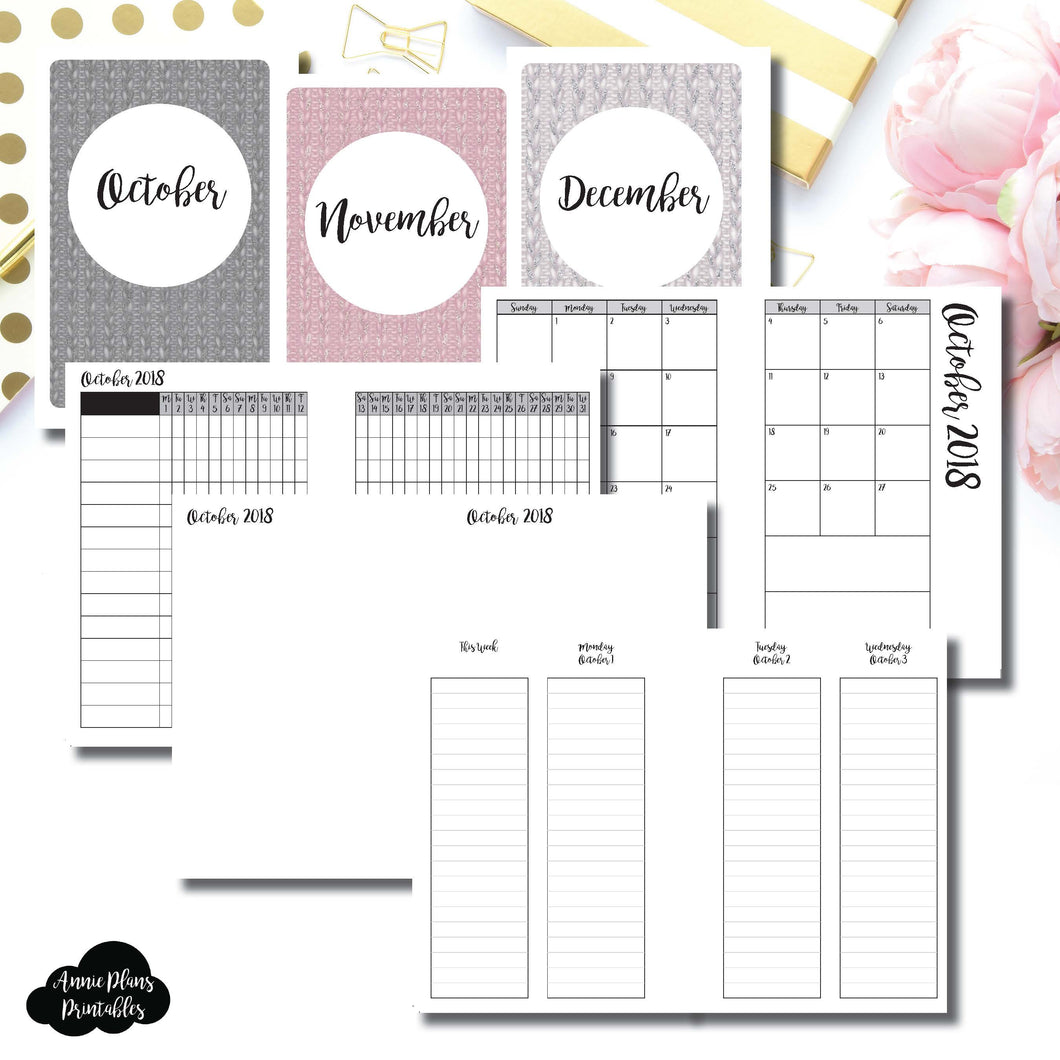 A6 Rings Size | OCT - DEC 2018 | Week on 4 Pages (Monday Start) LINED Vertical Layout | Printable Insert ©