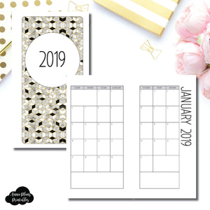 Personal Rings Size | 2019 SIMPLE FONT Monthly Calendar (SUNDAY Start) PRINTABLE INSERT ©