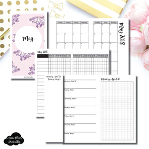 PERSONAL TN Size | MAY 2018 | Month/Weekly/Daily GRID (Monday Start) Printable Insert ©