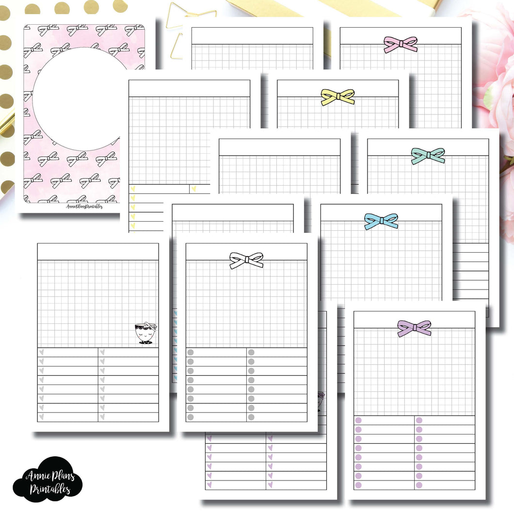 A6 TN Size | Undated Day on a Page or Project HappieScrappie Collaboration Printable Insert ©