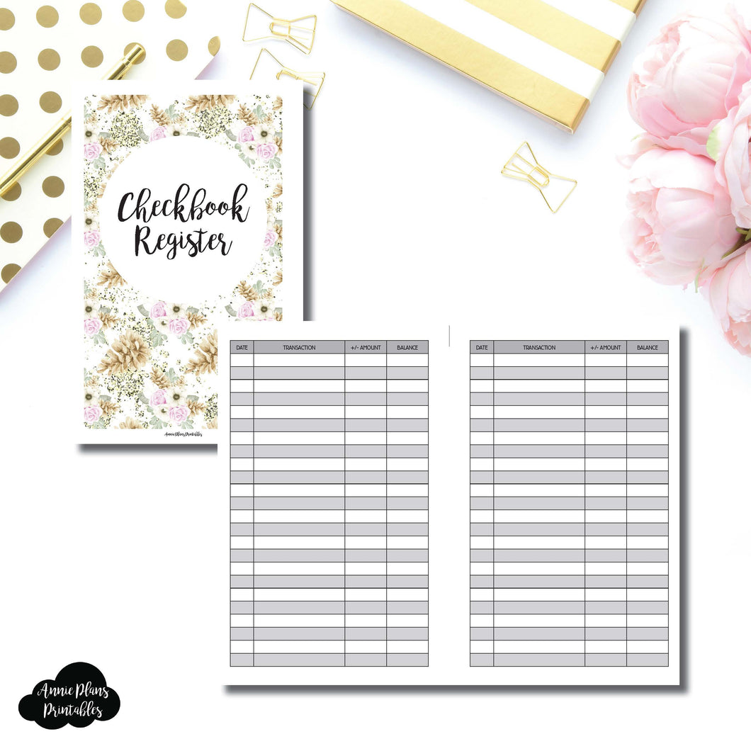 Half Letter Rings Size | CHECKBOOK REGISTER Printable Insert ©