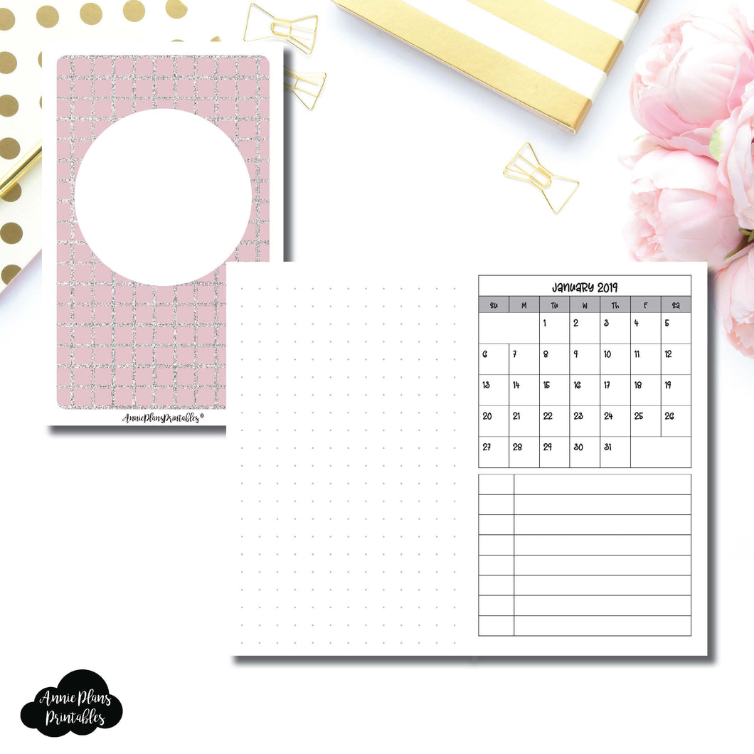 Pocket TN Size | 2019 Monthly Dated Important Dates with Dot Grid Printable Insert ©