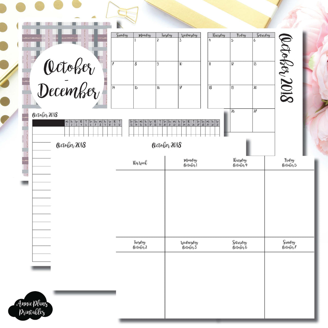 Cahier TN Size | OCT - DEC 2018 | Vertical Week on 2 Page (Monday Start) Printable Insert ©