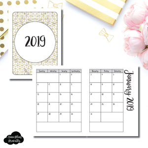 Micro TN Size | 2019 Monthly Calendar (SUNDAY Start) PRINTABLE INSERT ©