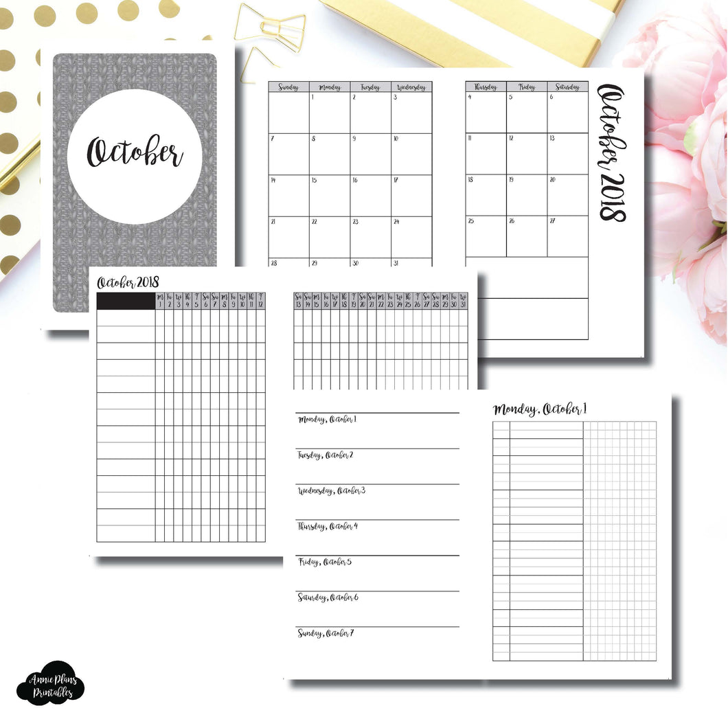 A6 Rings Size | OCT 2018 | Month/Weekly/Daily UNTIMED (Monday Start) Printable Insert ©