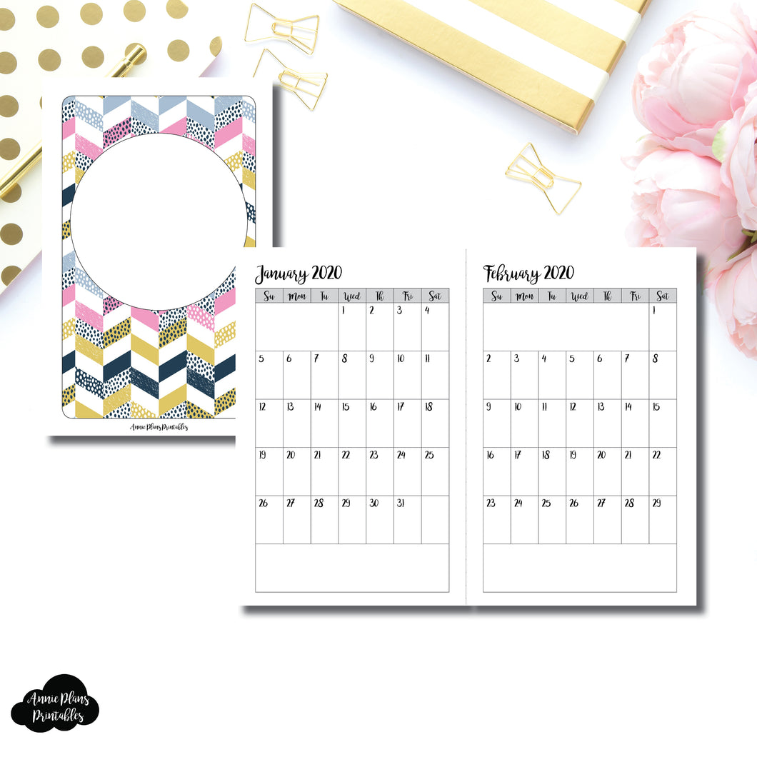 Pocket TN Size | 24 Month (JAN 2020 - DEC 2021) SINGLE PAGE Monthly Printable Insert ©