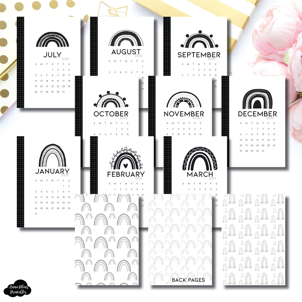Pocket Plus Rings Size | 2020-2021 18 Month Calendar Minimalist Dashboard Printable Insert