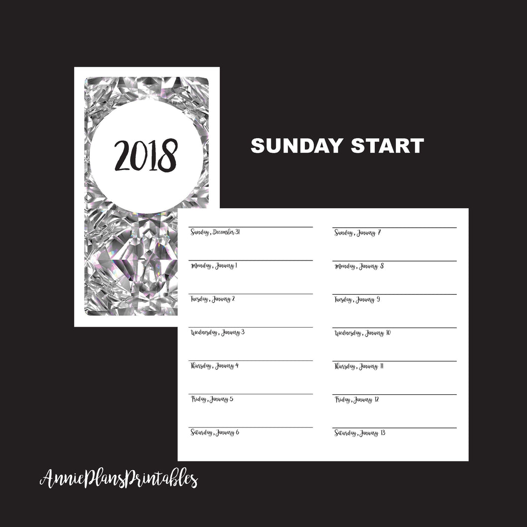 Personal TN Size  | 2017 - 2018 Week on 1 Page Layout (SUNDAY Start) Printable Insert ©