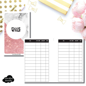 Pocket Rings Size | Basic Bill Tracker Printable Insert ©