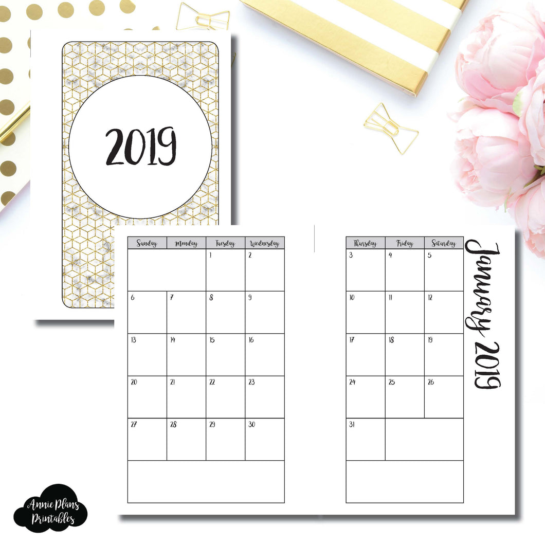 Pocket Rings Size | 2019 Monthly Calendar (SUNDAY Start) PRINTABLE INSERT ©