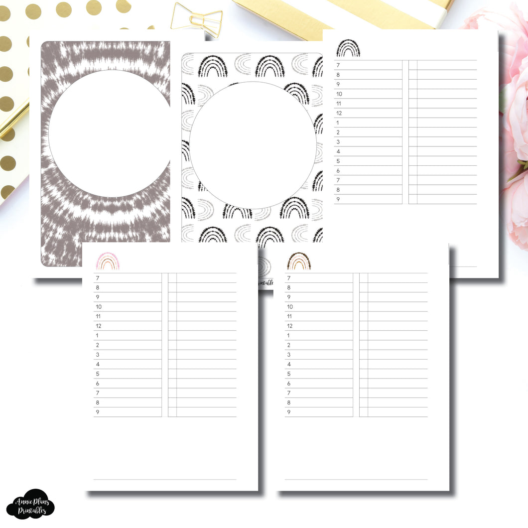 B6 Rings Size | Boho Rainbow Undated Timed Daily Printable Insert